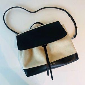 Mansur Gavriel Canvas and Black Leather Lady Bag